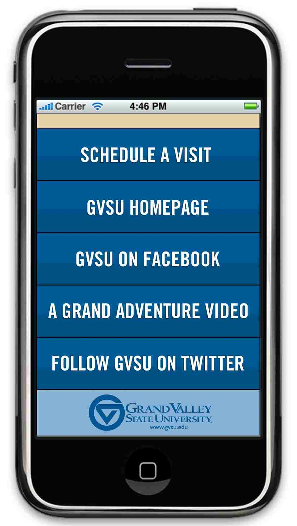 Home Menu Page of an App with GVSU Logo